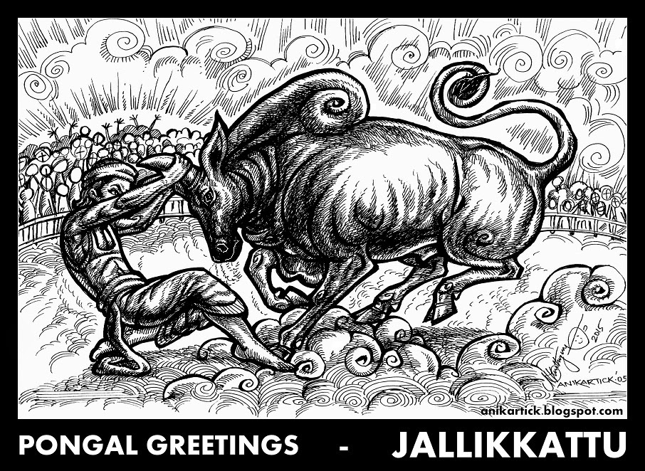 JALLIKKATTU - PONGAL FESTIVAL'S SPECIAL BRAVE ART EVENT OF TAMIL PEOPLE - Art by Anikartick,Chennai,TamilNadu,India